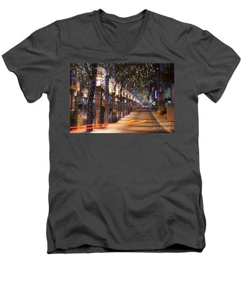 Denver's 16th Street Mall At Christmas Men's V-Neck T-Shirt