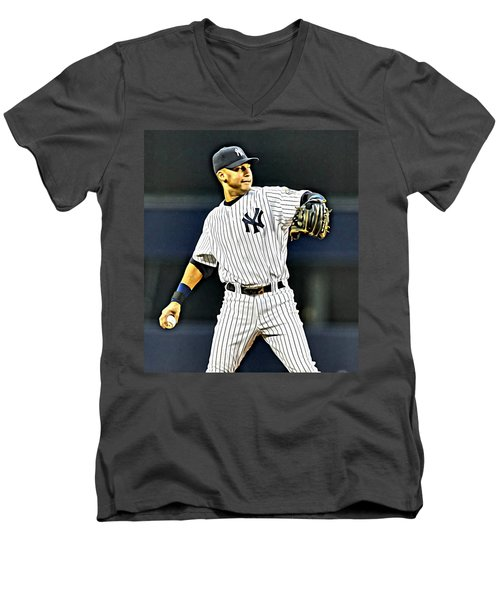 Derek Jeter Men's V-Neck T-Shirt by Florian Rodarte