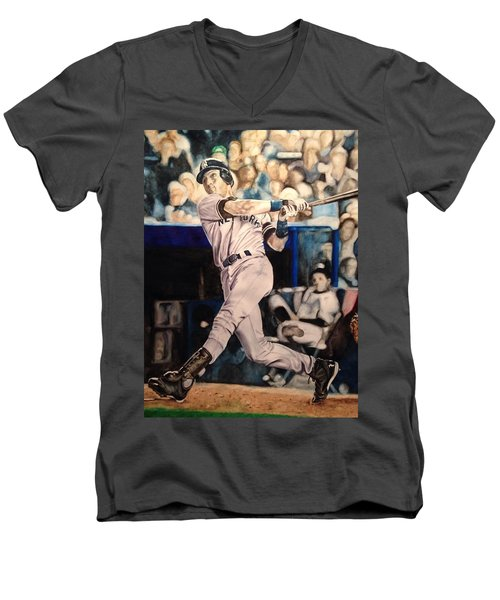 Derek Jeter Men's V-Neck T-Shirt by Lance Gebhardt