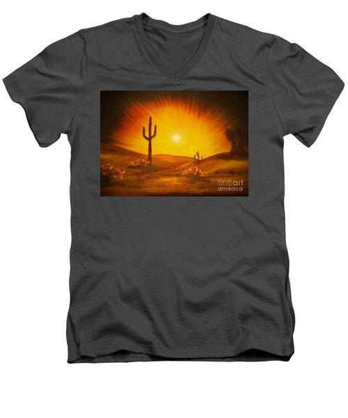 Desert Aglow Men's V-Neck T-Shirt by Becky Lupe