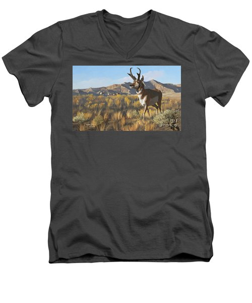 Men's V-Neck T-Shirt featuring the painting Desert Buck by Rob Corsetti