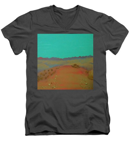 Men's V-Neck T-Shirt featuring the painting Desert Overlook by Keith Thue