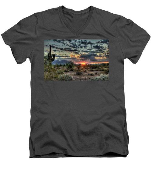 Desert Sunrise  Men's V-Neck T-Shirt by Saija  Lehtonen
