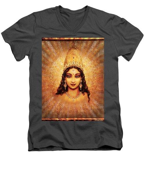 Men's V-Neck T-Shirt featuring the mixed media Devi Darshan by Ananda Vdovic