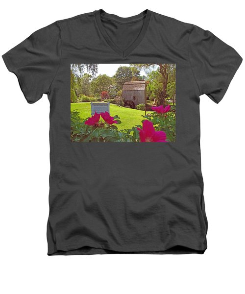 Men's V-Neck T-Shirt featuring the photograph Dexters Grist Mill Two by Barbara McDevitt