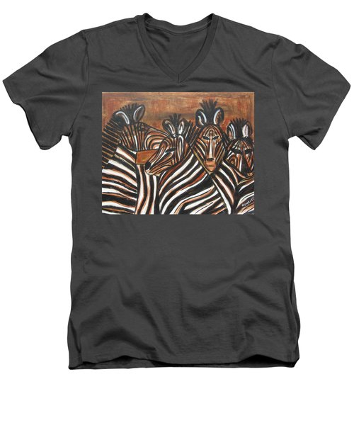 Zebra Bar Crowd Men's V-Neck T-Shirt