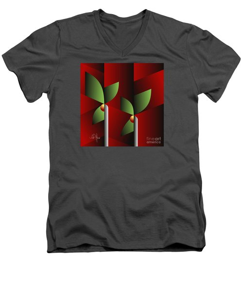 Digital Garden Men's V-Neck T-Shirt by Leo Symon