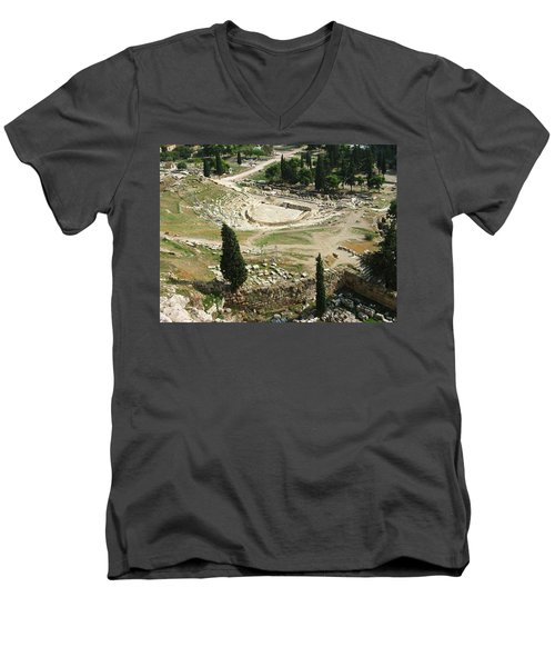 Dionysus Amphitheater Men's V-Neck T-Shirt by Ellen Henneke