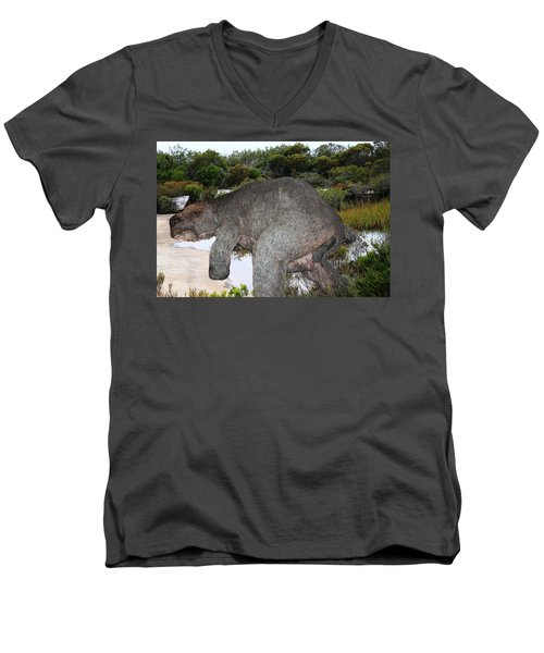 Diprotodon Men's V-Neck T-Shirt by Miroslava Jurcik