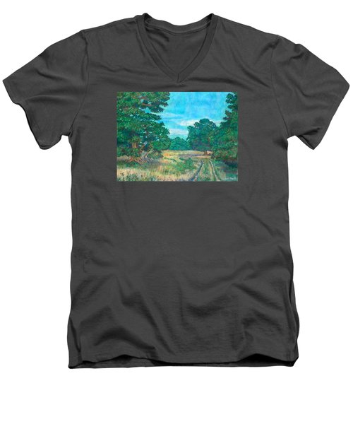 Men's V-Neck T-Shirt featuring the painting Dirt Road Near Rock Castle Gorge by Kendall Kessler