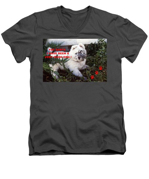 Dirty Dog Christmas Card Men's V-Neck T-Shirt