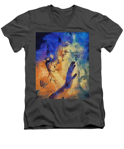 Men's V-Neck T-Shirt featuring the painting Discovering Yourself by Joe Misrasi