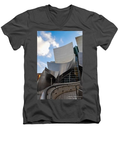 Men's V-Neck T-Shirt featuring the photograph Disney Hall by Gandz Photography