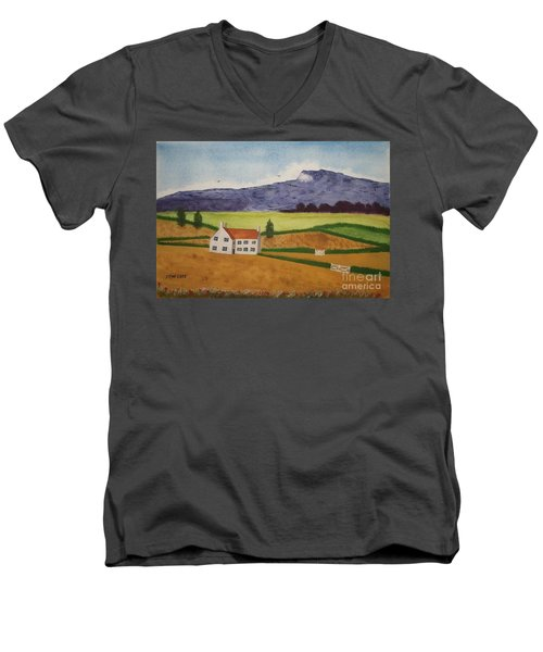 Men's V-Neck T-Shirt featuring the painting Distant Hills by John Williams