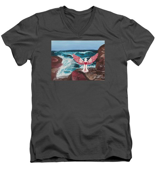 Men's V-Neck T-Shirt featuring the painting Divine Power by Cheryl Bailey