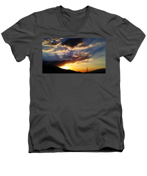 Men's V-Neck T-Shirt featuring the photograph Divine Sunset by Chris Tarpening