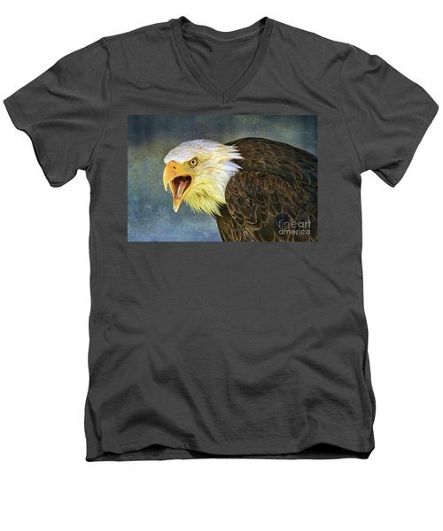 Men's V-Neck T-Shirt featuring the photograph Do It Or Else by Teresa Zieba