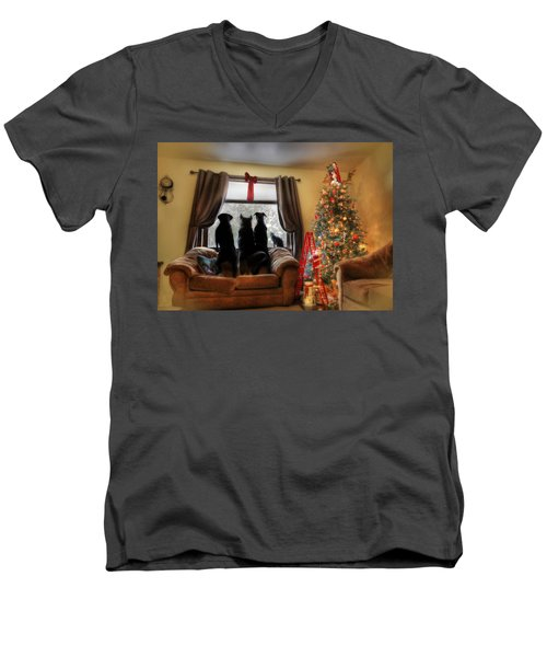 Do You Hear What I Hear Men's V-Neck T-Shirt by Lori Deiter