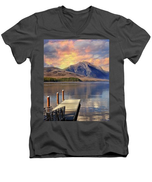 Men's V-Neck T-Shirt featuring the photograph Dock On Lake Mcdonald by Marty Koch