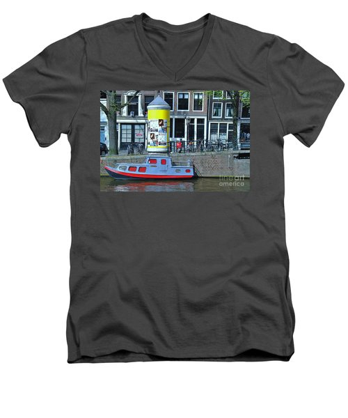 Men's V-Neck T-Shirt featuring the photograph Docked In Amsterdam by Allen Beatty