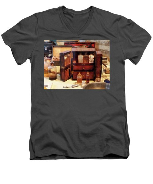 Men's V-Neck T-Shirt featuring the photograph Doctor - Case With Medicine Bottles by Susan Savad