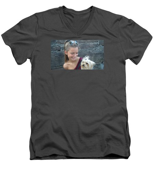 Men's V-Neck T-Shirt featuring the photograph Dog And True Friendship 4 by Teo SITCHET-KANDA