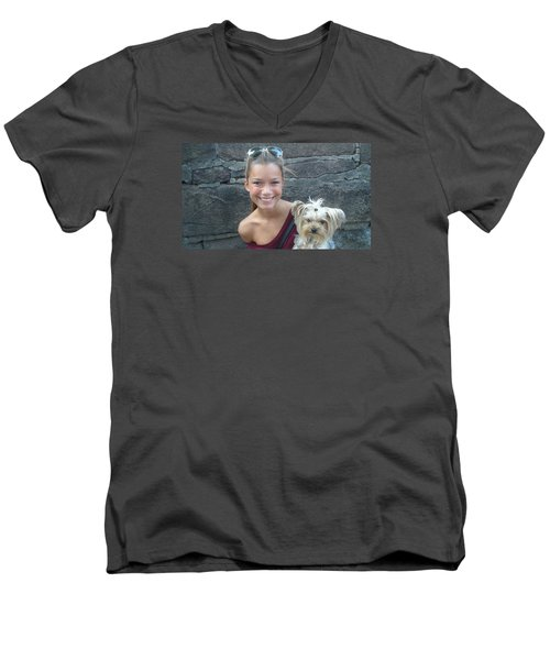 Men's V-Neck T-Shirt featuring the photograph Dog And True Friendship 5 by Teo SITCHET-KANDA