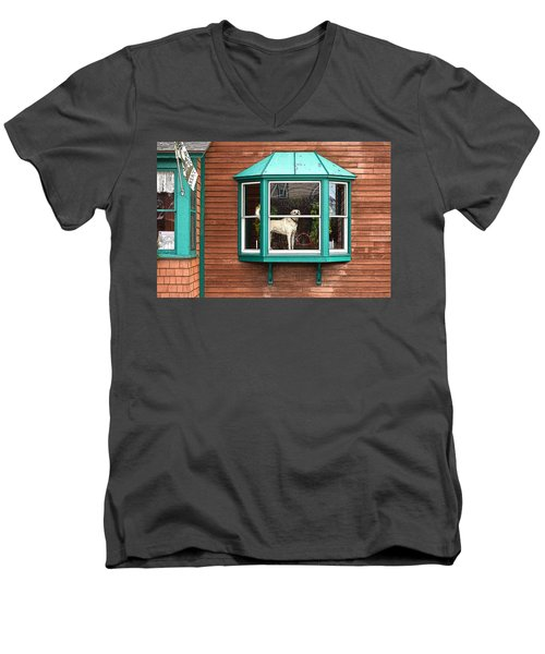 Dog In Window Men's V-Neck T-Shirt