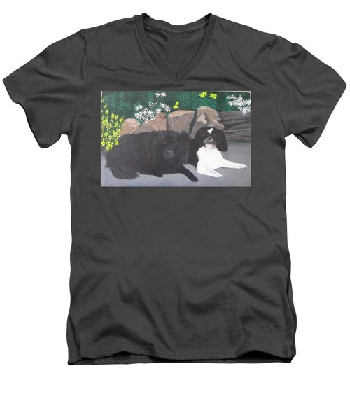 Dogs Daisy And Buttons Men's V-Neck T-Shirt