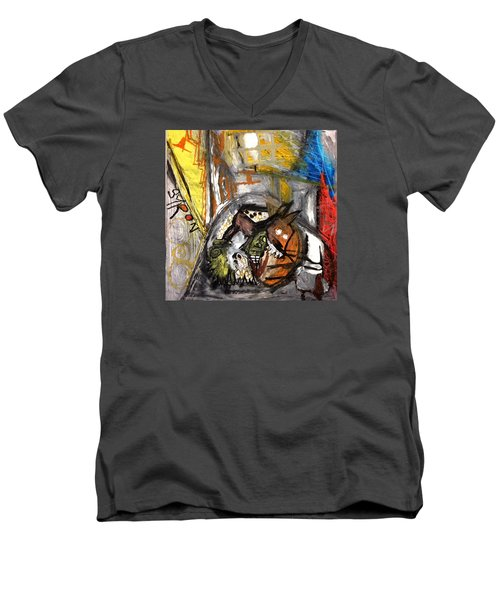 Men's V-Neck T-Shirt featuring the drawing Dogs Dinner by Helen Syron