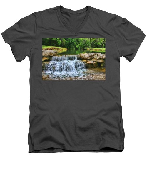 Dogwood Canyon Falls Men's V-Neck T-Shirt by Elizabeth Winter