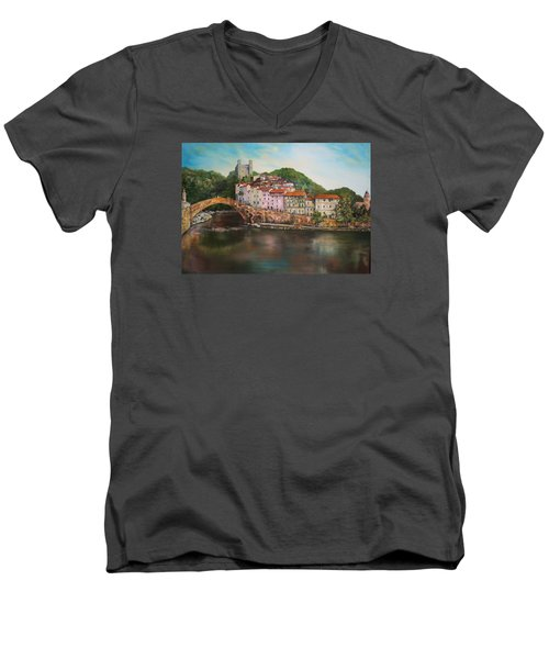 Men's V-Neck T-Shirt featuring the painting Dolceacqua Italy by Jean Walker