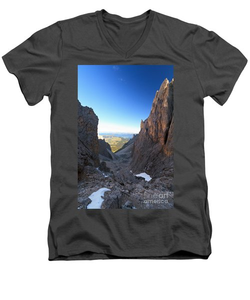 Men's V-Neck T-Shirt featuring the photograph Dolomites At Morning by Antonio Scarpi