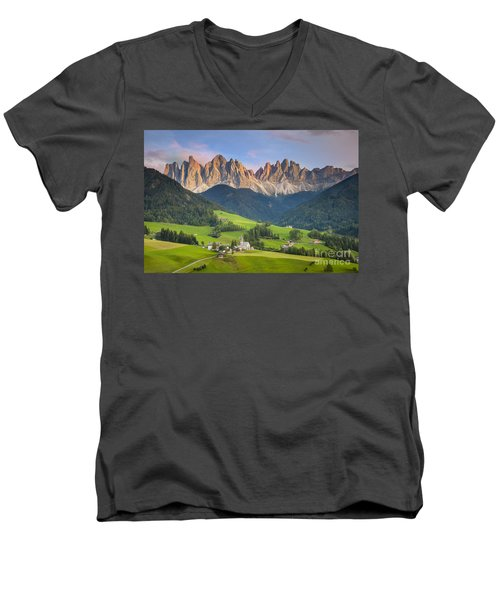 Dolomites From Val Di Funes Men's V-Neck T-Shirt