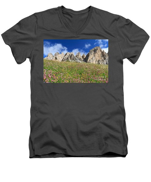 Men's V-Neck T-Shirt featuring the photograph Dolomiti - Flowered Meadow  by Antonio Scarpi