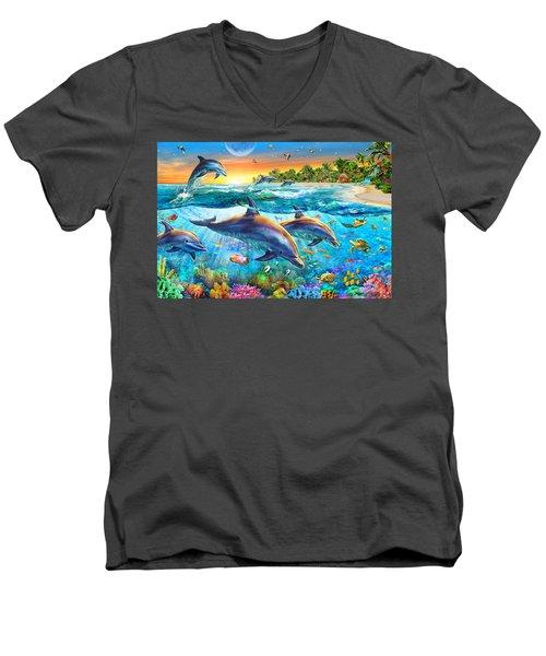 Dolphin Bay Men's V-Neck T-Shirt