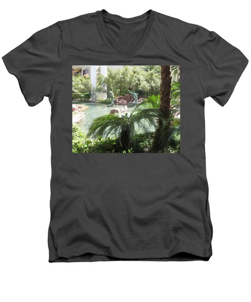 Men's V-Neck T-Shirt featuring the photograph Dolphin Pond And Garden Green by Navin Joshi