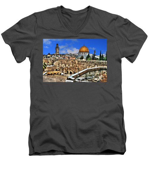 Men's V-Neck T-Shirt featuring the photograph Dome Of The Rock by Doc Braham