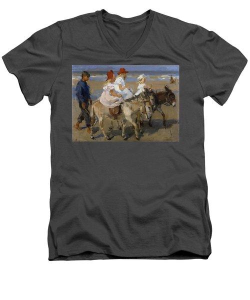Donkey Rides Along The Beach Men's V-Neck T-Shirt