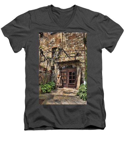 Men's V-Neck T-Shirt featuring the photograph Door Montepulciano Italy by Hugh Smith