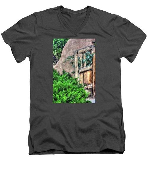 Men's V-Neck T-Shirt featuring the photograph Door, Santuario De Chimayo by Lanita Williams