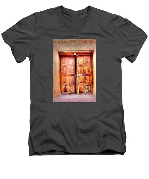 Men's V-Neck T-Shirt featuring the photograph Doors To The Inner Santuario De Chimayo by Lanita Williams