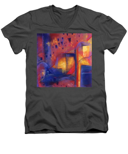 Men's V-Neck T-Shirt featuring the pastel Doorways by Susan Will