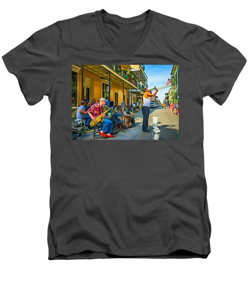 Doreen's Jazz New Orleans - Paint Men's V-Neck T-Shirt by Steve Harrington