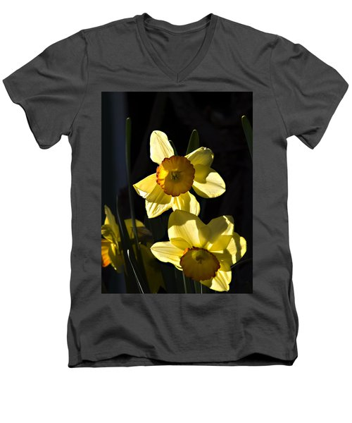 Men's V-Neck T-Shirt featuring the photograph Dos Daffs by Joe Schofield