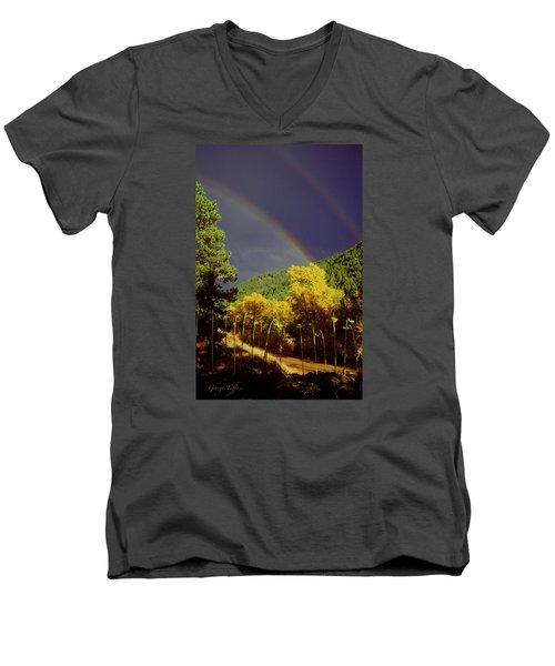 Double Rainbow Autumn Men's V-Neck T-Shirt