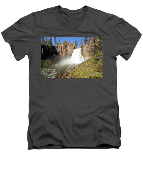 Double Rainbow Falls Men's V-Neck T-Shirt by Adam Jewell