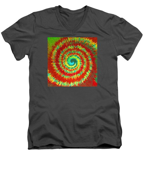 Men's V-Neck T-Shirt featuring the painting Double Spiral  C2014 by Paul Ashby