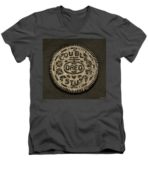 Double Stuff Oreo In Sepia Negitive Men's V-Neck T-Shirt by Rob Hans