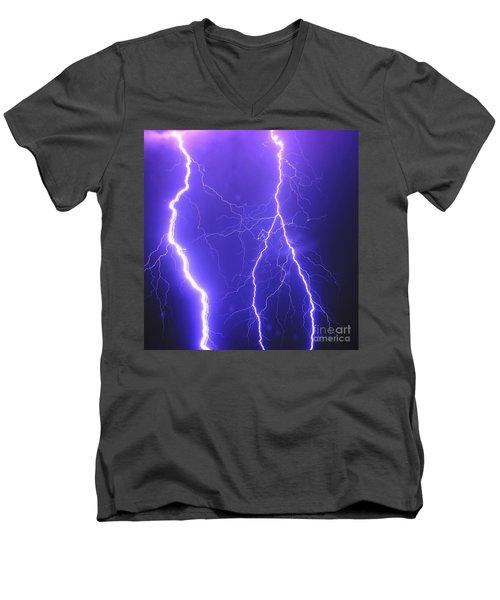 Double Triple Blue Lightning Men's V-Neck T-Shirt